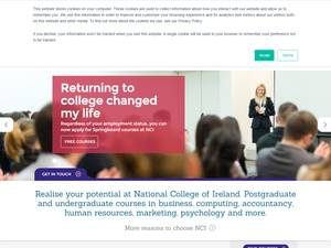 National College of Ireland's Website Screenshot