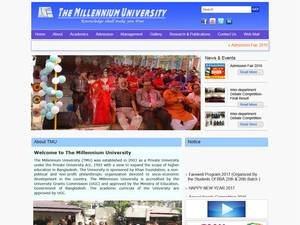 The Millenium University's Website Screenshot