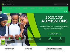 University for Development Studies's Website Screenshot