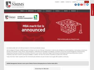Narsee Monjee Institute of Management and Higher Studies's Website Screenshot