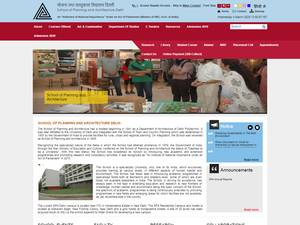 School of Planning and Architecture, Delhi's Website Screenshot