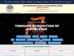 Sri Padmavati Mahila Visvavidyalayam's Website Screenshot