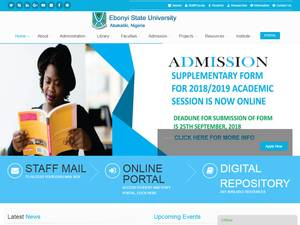 Ebonyi State University's Website Screenshot