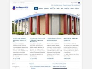 Ambrose Alli University's Website Screenshot