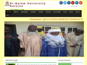 Al-Qalam University, Katsina's Website Screenshot