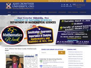 Ajayi Crowther University's Website Screenshot