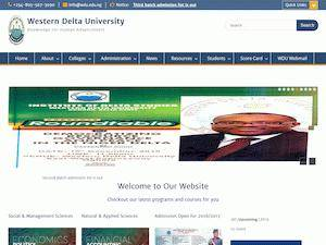 Western Delta University's Website Screenshot