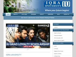 Iqra University's Website Screenshot