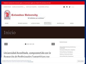 Columbus University's Website Screenshot
