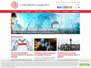 Univerzita Karlova's Website Screenshot