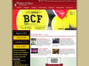 The Baptist College of Florida's Website Screenshot