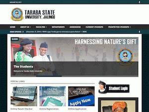 Taraba State University's Website Screenshot