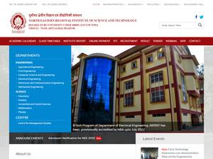 North Eastern Regional Institute of Science and Technology's Website Screenshot