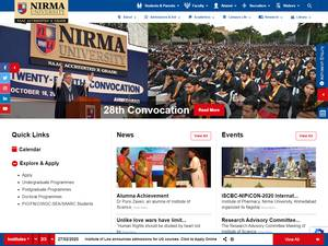 Nirma University of Science and Technology's Website Screenshot