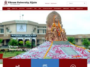 Vikram University's Website Screenshot