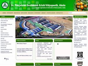 Dr. Panjabrao Deshmukh Krishi Vidyapeeth's Website Screenshot