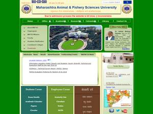Maharashtra Animal and Fishery Sciences University's Website Screenshot