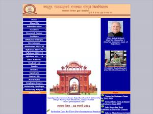 Jagadguru Ramanandacharya Rajasthan Sanskrit University's Website Screenshot
