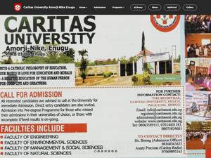 Caritas University's Website Screenshot