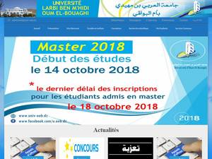 Université Larbi Ben Mhidi de Oum El Bouaghi's Website Screenshot