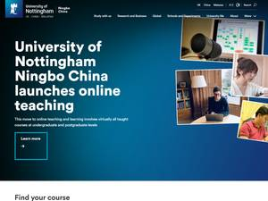 The University of Nottingham Ningbo, China's Website Screenshot