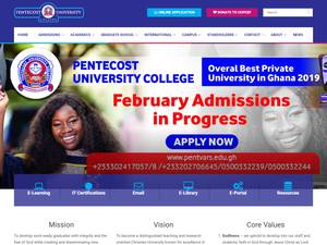 Pentecost University College's Website Screenshot