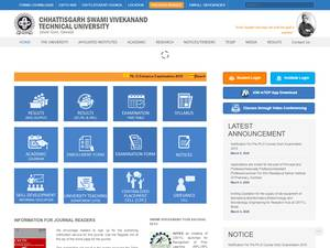 Chhattisgarh Swami Vivekananda Technical University's Website Screenshot