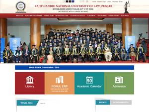 Rajiv Gandhi National University of Law's Website Screenshot