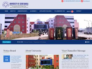 University of Gour Banga's Website Screenshot