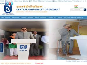 Central University of Gujarat's Website Screenshot