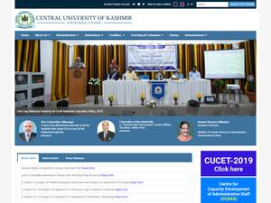 Central University of Kashmir's Website Screenshot