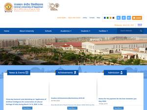 Central University of Rajasthan's Website Screenshot