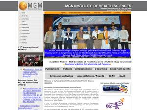 MGM Institute of Health Sciences's Website Screenshot