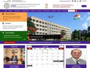 Jawaharlal Institute of Postgraduate Medical Education and Research's Website Screenshot