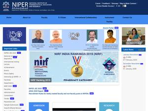 National Institute of Pharmaceutical Education and Research, Ahmedabad's Website Screenshot