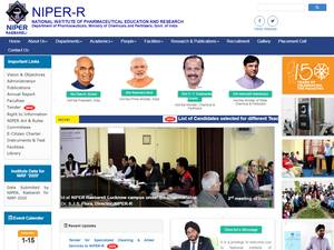 National Institute of Pharmaceutical Education and Research, Rae Bareli's Website Screenshot