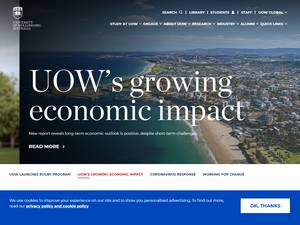 University of Wollongong's Website Screenshot