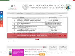 Instituto Tecnológico del Valle de Oaxaca's Website Screenshot