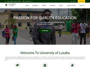 University of Lusaka's Website Screenshot