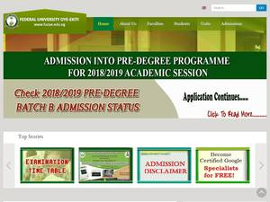 Federal University, Oye-Ekiti's Website Screenshot