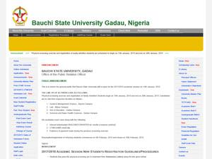 Bauchi State University's Website Screenshot