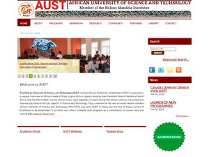 African University of Science and Technology's Website Screenshot