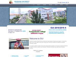 Oduduwa University's Website Screenshot