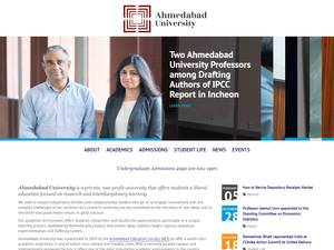 Ahmedabad University's Website Screenshot
