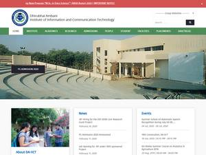 Dhirubhai Ambani Institute of Information and Communication Technology's Website Screenshot
