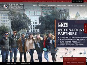 Alliance University's Website Screenshot
