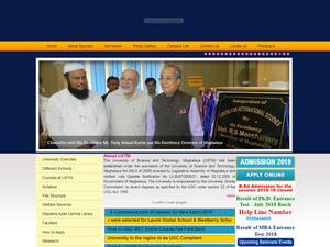 University of Science and Technology, Meghalaya's Website Screenshot