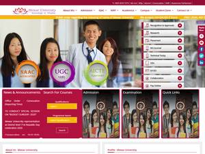 Mewar University's Website Screenshot