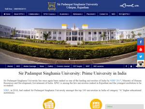 Sir Padampat Singhania University's Website Screenshot