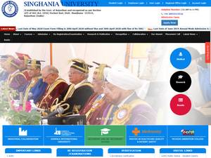 Singhania University's Website Screenshot